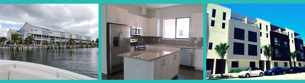 picture showing three images of new townhomes for sale in Tampa Bay with the first picture showing waterfront townhomes, the middle image shows a kitchen in a new townhome and the erd shows the Arlington St. Pete