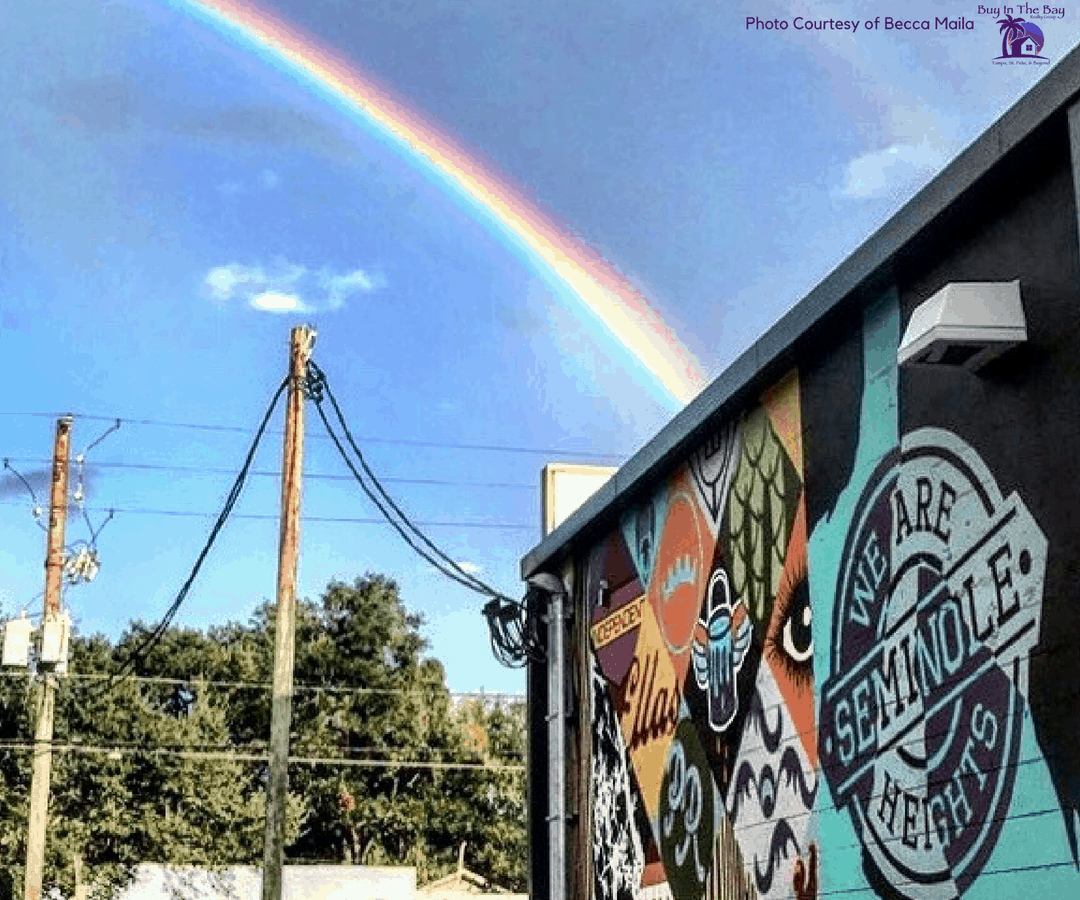 Picture of a building in Seminole Heights with a rainbow and a mural