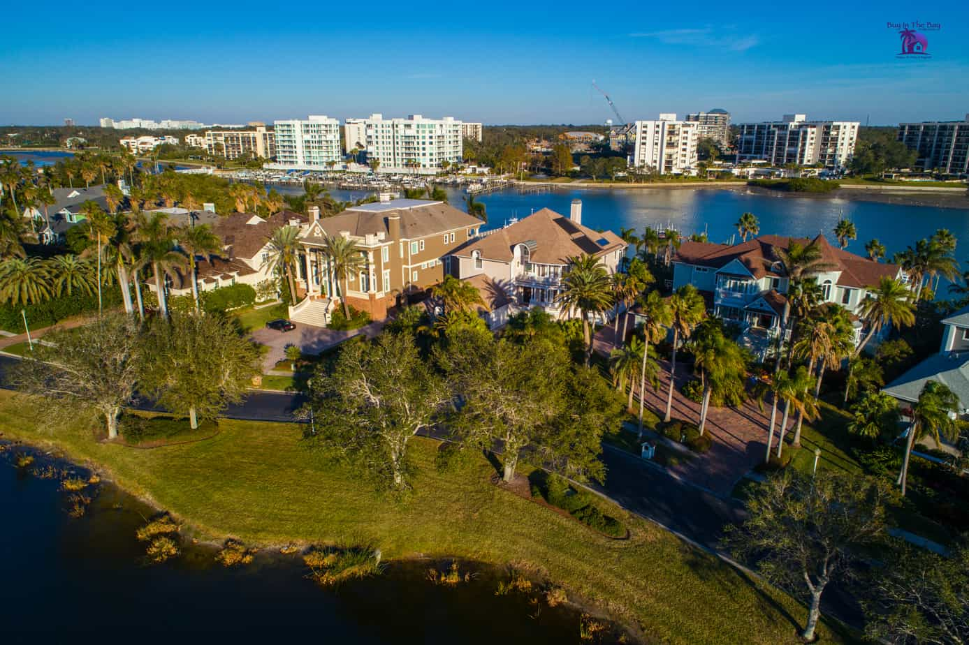 Ariel view of the Belleview Neighborhood in Belleair FL in the zip code of 33756 showing an inlet, and the Belleview Biltmore golfcourse
