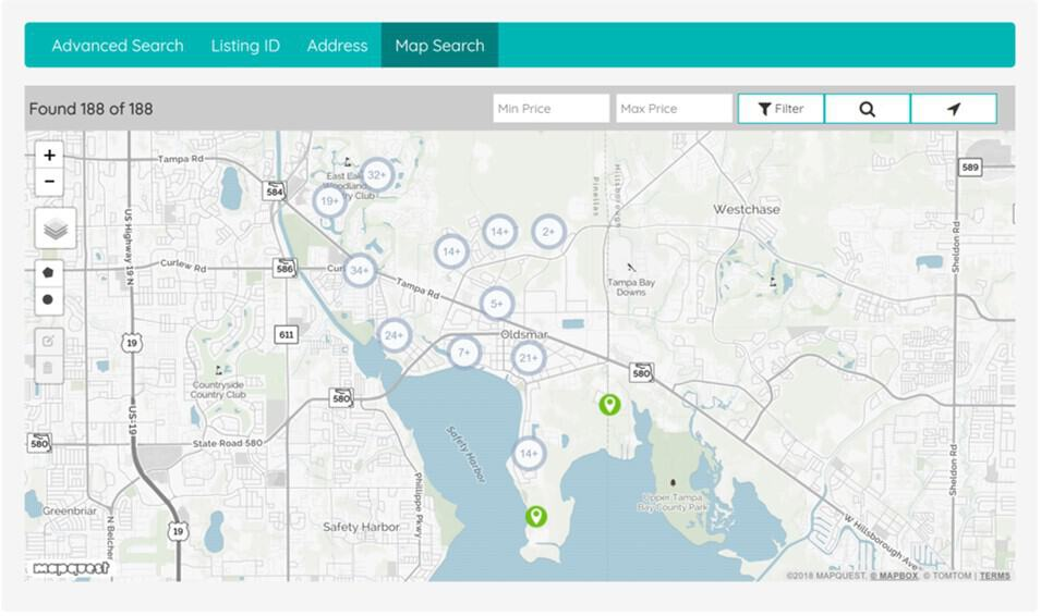 Image of map of Oldsmar Florida to click on to search homes