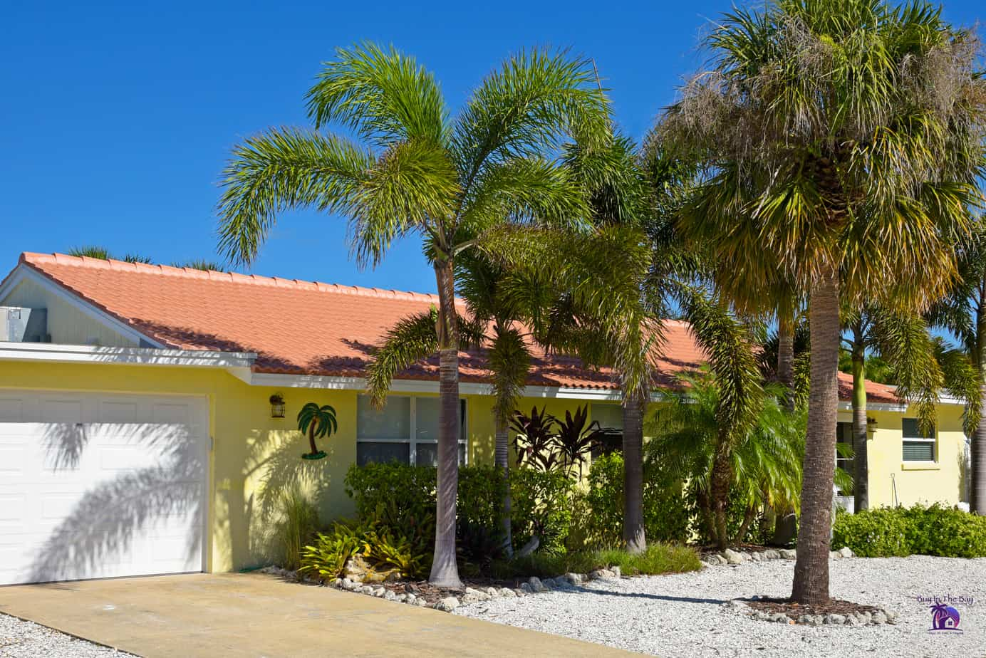 picture of a typical pinellas park home for sale in florida. home is yellow one story ranch with tan tile barrel roof and palm tree in front of home.