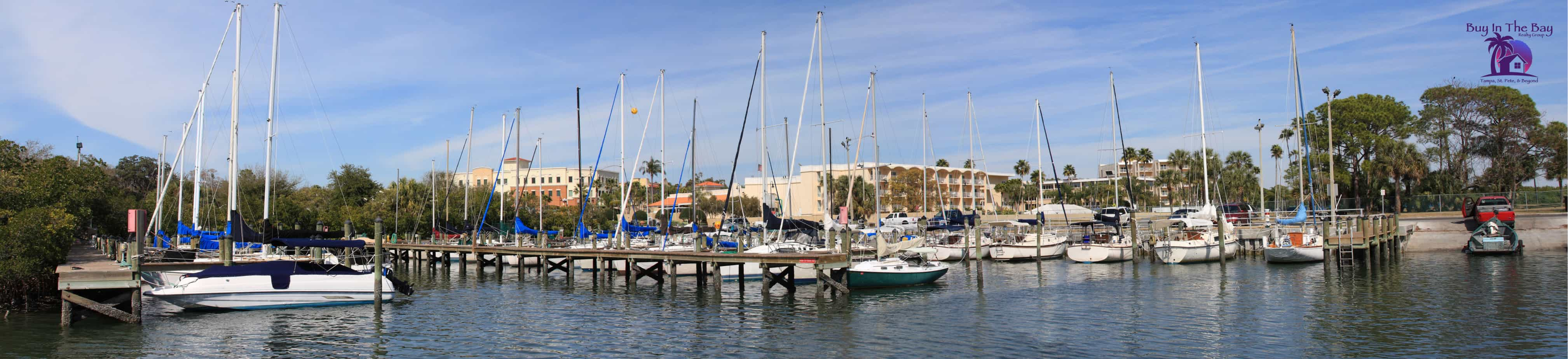 Safety Harbor Florida Marina with boats on water and palm trees