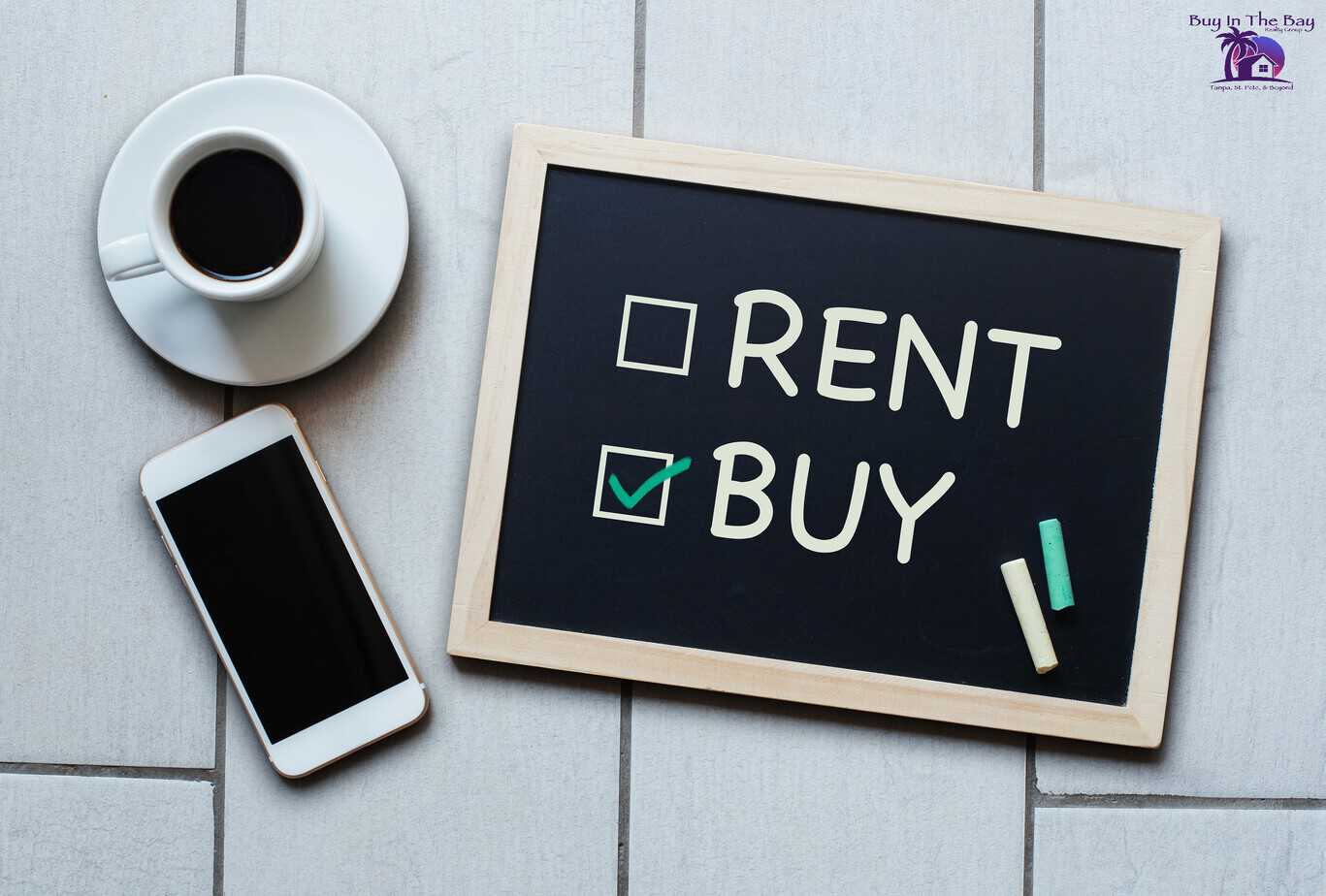 Blackboard with check boxes with the words buy and rent, with buy checked off for our buyer services page at buy in the bay realty group